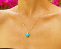Bridal jewelry,  bridesmaid jewelry, Turquoise jewelry, heart pendant,  stone heart pendant, wedding, birthday gift, charm necklace