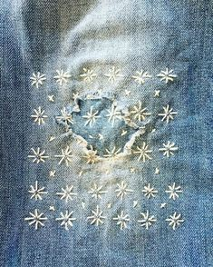 dżins Inspiration: Sashiko & visible mending — Nora Knox A Short History of Herbs The world of today Sashiko Embroidery, Japanese Embroidery, Embroidery Stitches, Hand Embroidery, Embroidery Designs, Simple Embroidery, Embroidery Books, Flower Embroidery, Cross Stitches