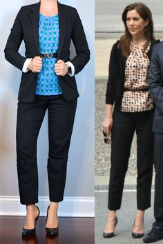 outfit post: black boyfriend blazer, blue green print blouse, black ankle pants, black pumps