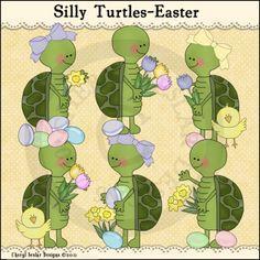 Silly Turtles Easter 1 - Whimsical Clip Art by Cheryl Seslar