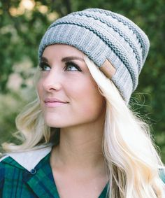 c3f308df928 Bella Ella Boutique Gray Stripe Knit Beanie by