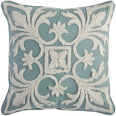 Add a breath of fresh air to your decor with our pillow that brings the deep blue of morning skies into your room. Elegantly embroidered with a <i>fleur-de-lis</i> motif, it can create a focal point on your sofa or beautifully complement an existing grouping pier1 $30.