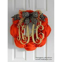Fall Burlap Wreaths with Monogram Initials  by LaurelCreekWreaths, $125.00