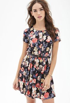 Belted Floral Print Dress #F21StatementPiece - http://AmericasMall.com/categories/juniors-teens.html