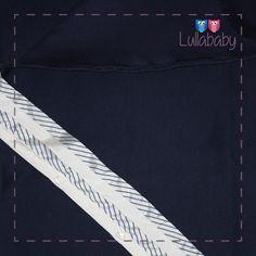 Manta Azul 100% algodão tricotado, com detalhes em tafetá  Fornecedor: Petit Calin http://www.lullababy.com.br/pd-