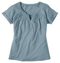 Natural Reflections® Smocked Slub Henley Tops for Ladies - Short Sleeve | Bass Pro Shops