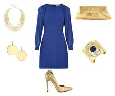 """""""Gold mixed with Blue so stunning..."""" by normah on Polyvore featuring Louche, Louise et Cie, Kenneth Jay Lane, BCBGMAXAZRIA, Lauren Merkin, Michael Antonio, women's clothing, women's fashion, women and female"""