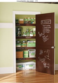 In this busy life we appreciate reminders of 'Things to Do'. Turn the inside pantry door into a memo board with Rust-Oleum Specialty Chalkboard Paint