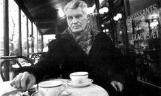 Samuel Beckett in his local cafe in Montparnasse, Paris