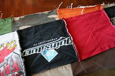 How to make an easy quilt from old t-shirts and a flannel sheet. Would be fun for kids outgrown shirts.
