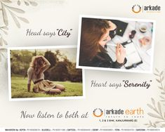 "Head says ""City"" Heart says ""Serenity"" Now listen to both at Arkade Earth 1, 2 and 3 BHK apartments at Kanjurmarg East  http://www.arkadegroup.com/?utm_content=bufferbb917&utm_medium=social&utm_source=pinterest.com&utm_campaign=buffer  #ArkadeEarth #Kanjurmarg #Arkade #Mumbai #Residential #TheFutureIsNow"
