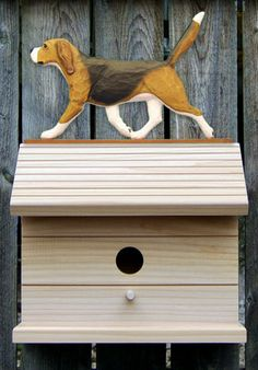 Bird House W/ Beagle on Peak. Home,Yard & Garden Dog Design Products & Gifts.