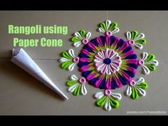 Rangoli using Paper Cone | Easy way to put the dots | Rangoli by Poonam Borkar - YouTube