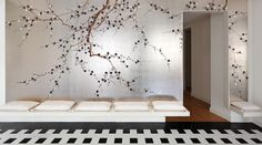 Traditional wallpapers / floral / fabric look / hand-painted PLUM BLOSSOM DE GOURNAY