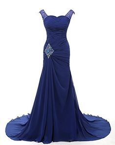 Grace Lee Sweep Train Beadings Long Prom Evening Gown Dresses S Royal Blue