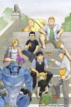 A Hiromu Arakawa Original! Team Mustang with Ed and Al Manga Anime, Me Anime, Manga Art, Anime Art, Fullmetal Alchemist Brotherhood, Fullmetal Alchemist Edward, Roy Mustang, Hiromu Arakawa, Arte Sailor Moon