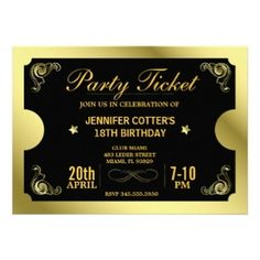 Ticket Style Adult Birthday Party Invitations