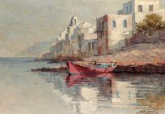 Αντώνης Κανάς(1915-95).Μέσα 20 ου-με φόντο την παραπορτιανη