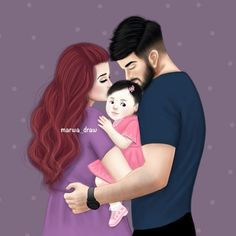 we both liked daugher she said: you can do any style with her lolly pop Mother Daughter Art, Mother Art, Daddy Daughter, Girly M, Cute Couple Art, Cute Couples, Sarra Art, Familia Anime, Family Drawing