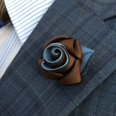 Mens Lapel Flower in Brown and Williamsburg // Mens by HelloOliver