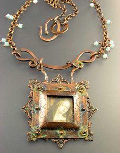 Necklace   Nancy L T Hamilton.  Copper, Glass, Polymer Clay Image transfer, Swarovski crystals, patinas.