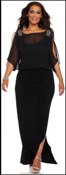 Elegant black social dress in plus size.