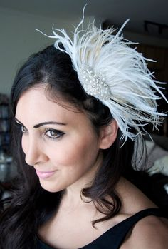 White Bridal Fascinator  White and Champagne Ostrich by EyeHeartMe, $42.00