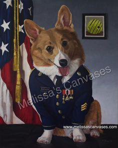"""""""Sgt. Buckley the Corgi""""  Oil painting.  20x16 inches.  2016. Commissioned."""