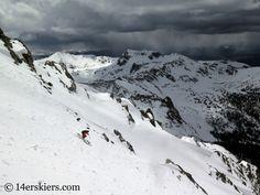 Frank Konsella backcountry skiing Northstar Couloir on North Arapahoe Peak.