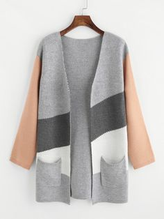 SheIn offers Color Block Pocket Open Front Cardigan & more to fit your fashionable needs. Fashion Sale, Fashion 2020, Fashion Outfits, Womens Fashion, Cute Coats, Knitwear Fashion, Recycled Denim, Open Front Cardigan, Shawl