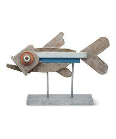 Loving this Navy Stripe Dry-Dock Fish Figurine & Stand on #zulily! #zulilyfinds