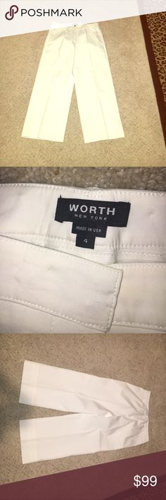 WORTH NEW YORK PANTS Excellent condition worn once lightweight material fully lined 75% cotton 21% nylon 4% elastic waist measures 15.5 inches across the inseam measures 23 inches these are wide leg Capri pants size 4 Worth Pants Ankle & Cropped
