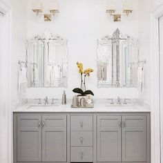 Happy Cinco de Mayo! We're celebrating with 25% off mirrors, wall art, and wall decor! Use promo code: REFLECT25 for a discount on these Venetian Mirrors used in this stunning bathroom remodel by @eggandchrome! #wisteriastyle #cincodemayo (Shop with #linkinbio)
