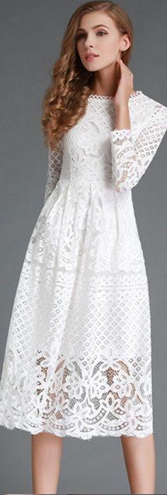White Lace Hollow-out Midi Dress