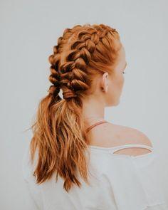Trança boxeadora: 115 fotos e tutoriais passo a passo (VÍDEOS) Beauty Make Up, Hair Beauty, Braided Hairstyles, Cool Hairstyles, Boxer, Good Hair Day, Hairstyles For School, Aesthetic Girl, Hair Inspo