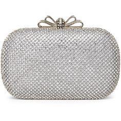 NATASHA Silver-Tone Mesh Accented Minaudiere (69 AUD) ❤ liked on Polyvore featuring bags, handbags, clutches, purses, metallics, mesh handbags, bow handbag, bow purse, clasp purse and mesh purse