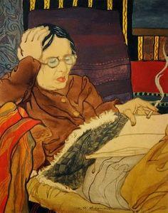 Rauchende Frau im Fauteuil by Charles-Clos Olsommer born March 17, 1883 in Neuchâtel, Switzerland died June 3, 1966 (83) in Sierre, Switzerland
