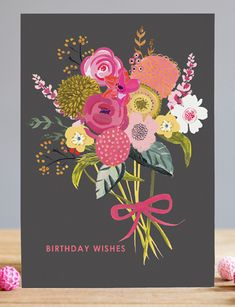 print & pattern, birthday wishes, floral, dark background, fem, contemporary, bunch of flowers, greeting card, floral