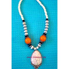 Necklace Handmade Tibetan - Tribal White Stone Pendant & Amber Beads with Turkmen Silver - Tribal Jewellery - Online Shopping for Necklaces by Store Utsav