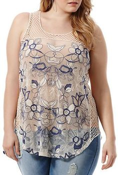 Harper + Liv Plus Size Embroidered Mesh Tank