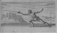"""Practical Capo Ferro.  This is perhaps the first practical description of the lunge 1610. """"l'incredibile accrescimento della botta lunga"""""""