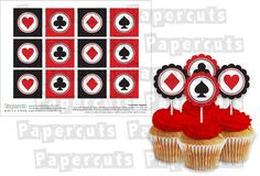 Printable DIY Black and Red Casino Night Poker Playing Card Theme Cupcake Toppers - INSTANT DOWNLOAD. $4.00, via Etsy.