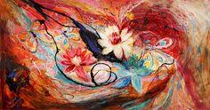 The Splash Of Life #18. Lotuses (Painting),  160x87x6 cm by Elena Kotliarker