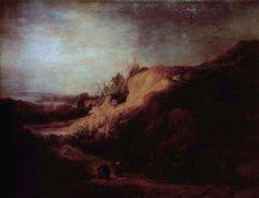School of Rembrandt (1606–1669) возможно Ferdinand Bol. Ранее приписывалось Rembrandt Landscape with the Baptism of the Eunuch (около 1640, Нижняя Саксония Государственный музей)