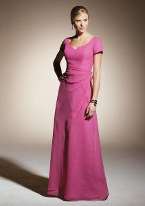 bridesmaid dress with sleeves and v-neck