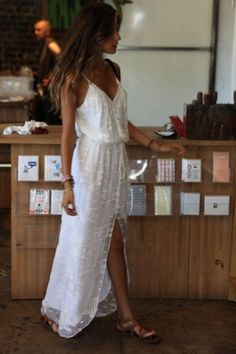 Picture perfect girl in a white maxi dress and tan leather sandals - Summer look and outfit - #fashion #outfit