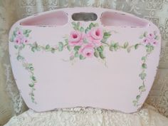 FRENCH CHIC LAP DESK TABLE w pockets hp rose shabby vintage cottage hand painted #HandPainted #SHABBYCHIC