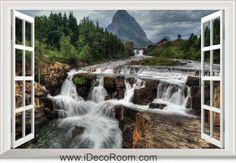 3D Glacier National Park Montana Waterfall Rock window wall sticker art decal IDCCH-LS-002031