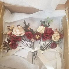 Julie Kundrach added a photo of their purchase Wrist Corsage Wedding, Flower Headpiece Wedding, Blush Wedding Flowers, Flower Crown Wedding, Flowers In Hair, Blue Boutonniere, Rustic Boutonniere, Groomsmen Boutonniere, Boutonnieres