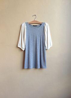 97b30b07 Women's Tunic Pale Grey and Oatmeal Puff sleeves by outofline Slow Fashion,  Diy Fashion,